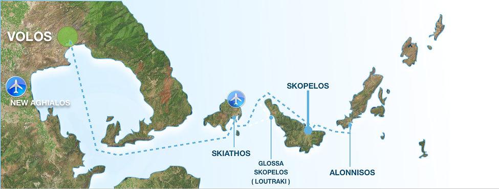 Χάρτης Βόλος Σκιάθος Σκόπελος Αλόννησος