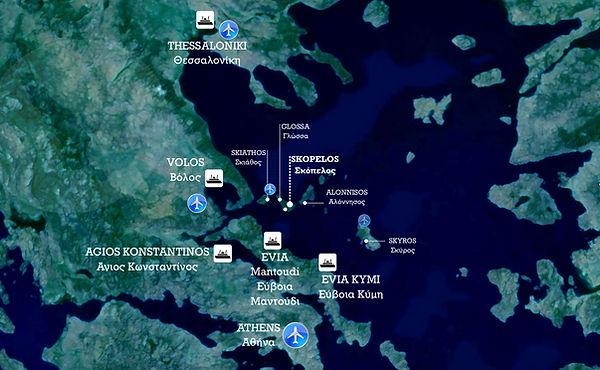 Σκόπελος Χάρτης λιμάνια πλοία συνδέσεις