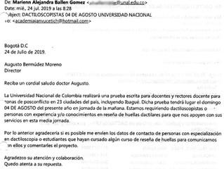 La U. Nal invita a los/las dactiloscopistas de la Academia JV