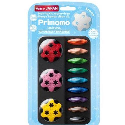 Primomo 無毒蠟筆 <<日本製>> 新款 BABY COLOR 花花蠟筆12色