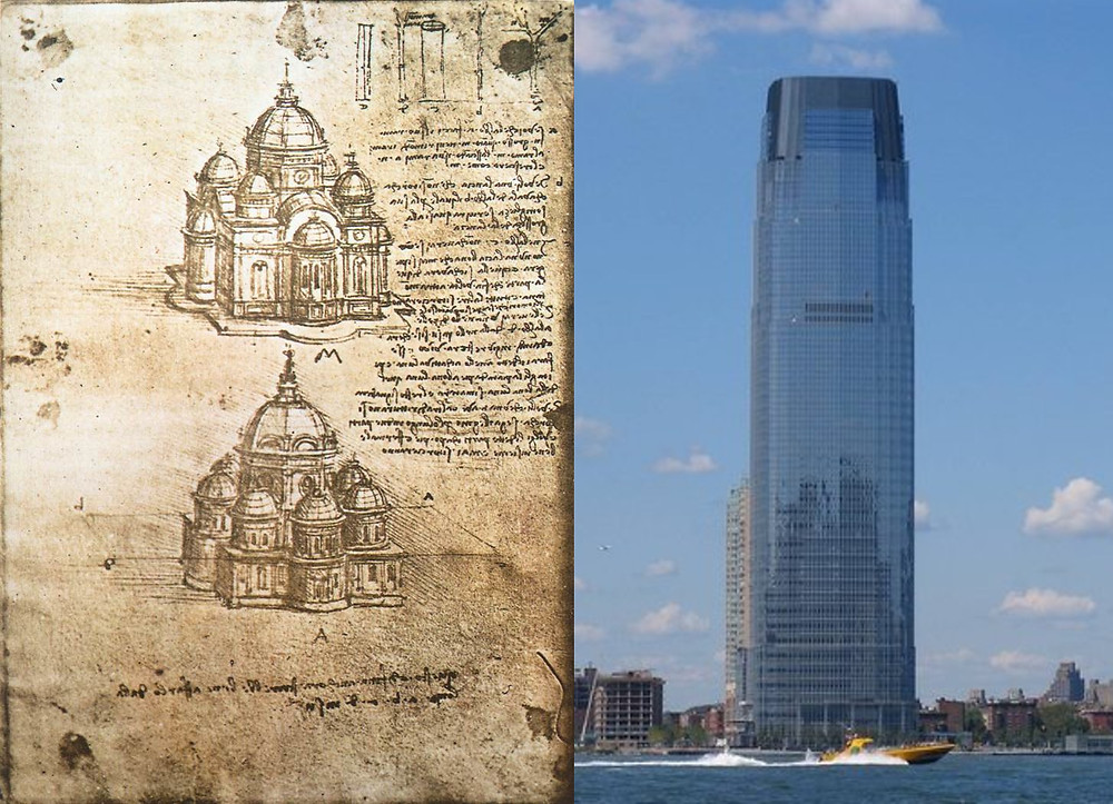 Left: Designs by Leonardo Davinci. Right: Goldman Sachs Tower, Jersey City