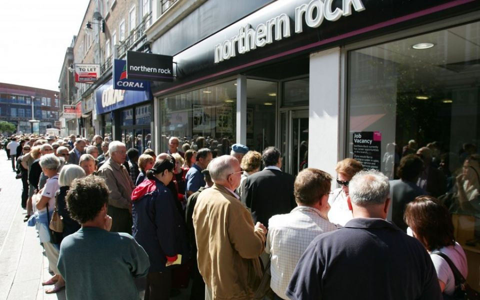 Bank Run at Britain's Northern Rock Bank, September 2007