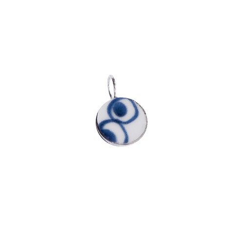 Necklace pendant, round with silver frame