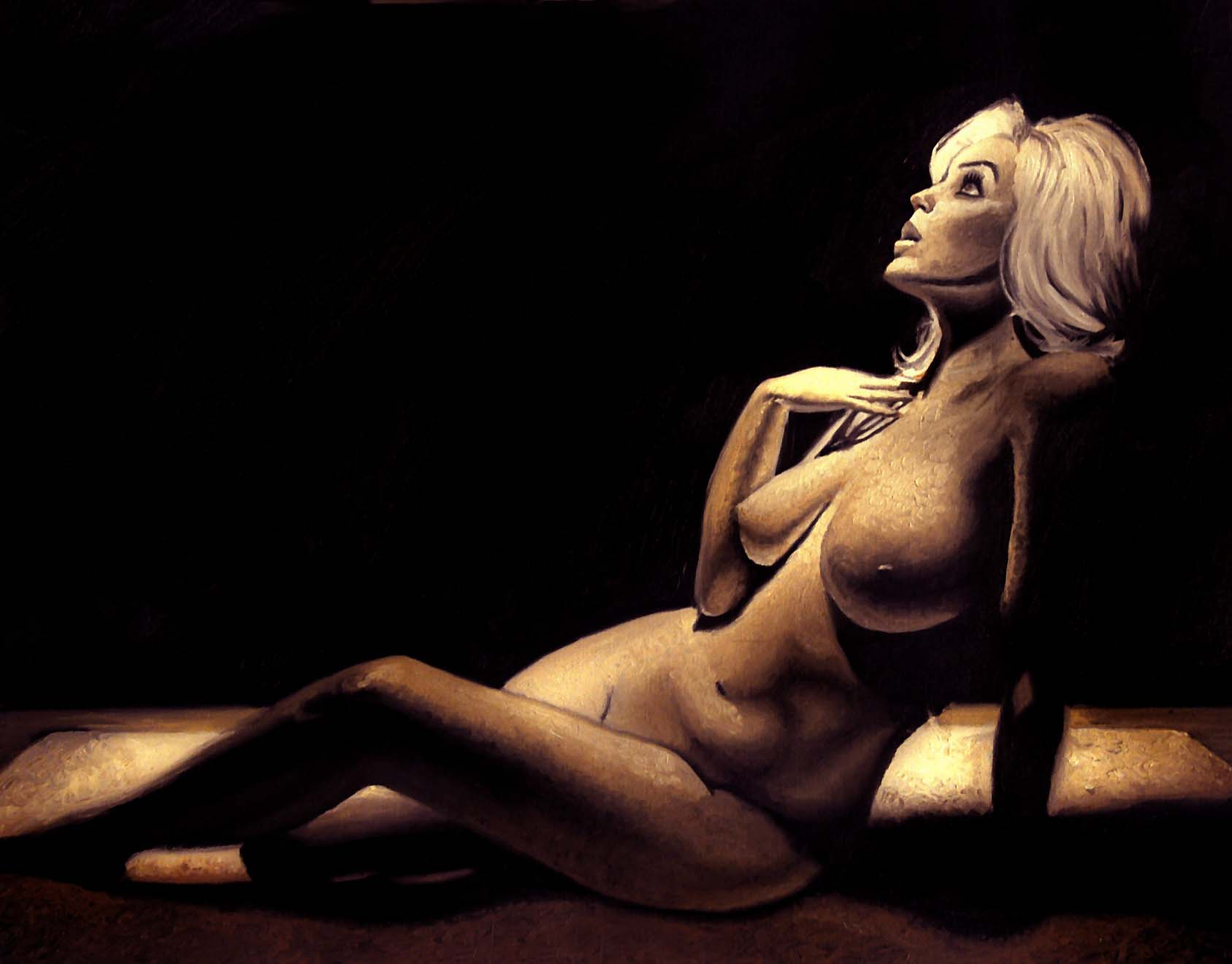 Reclining lady in sepia