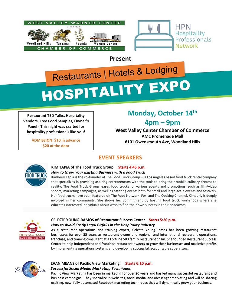 HPN Hospitality Expo Speaker Eve of 10-1