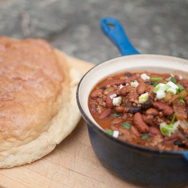 elk chili & gaboo boo bread
