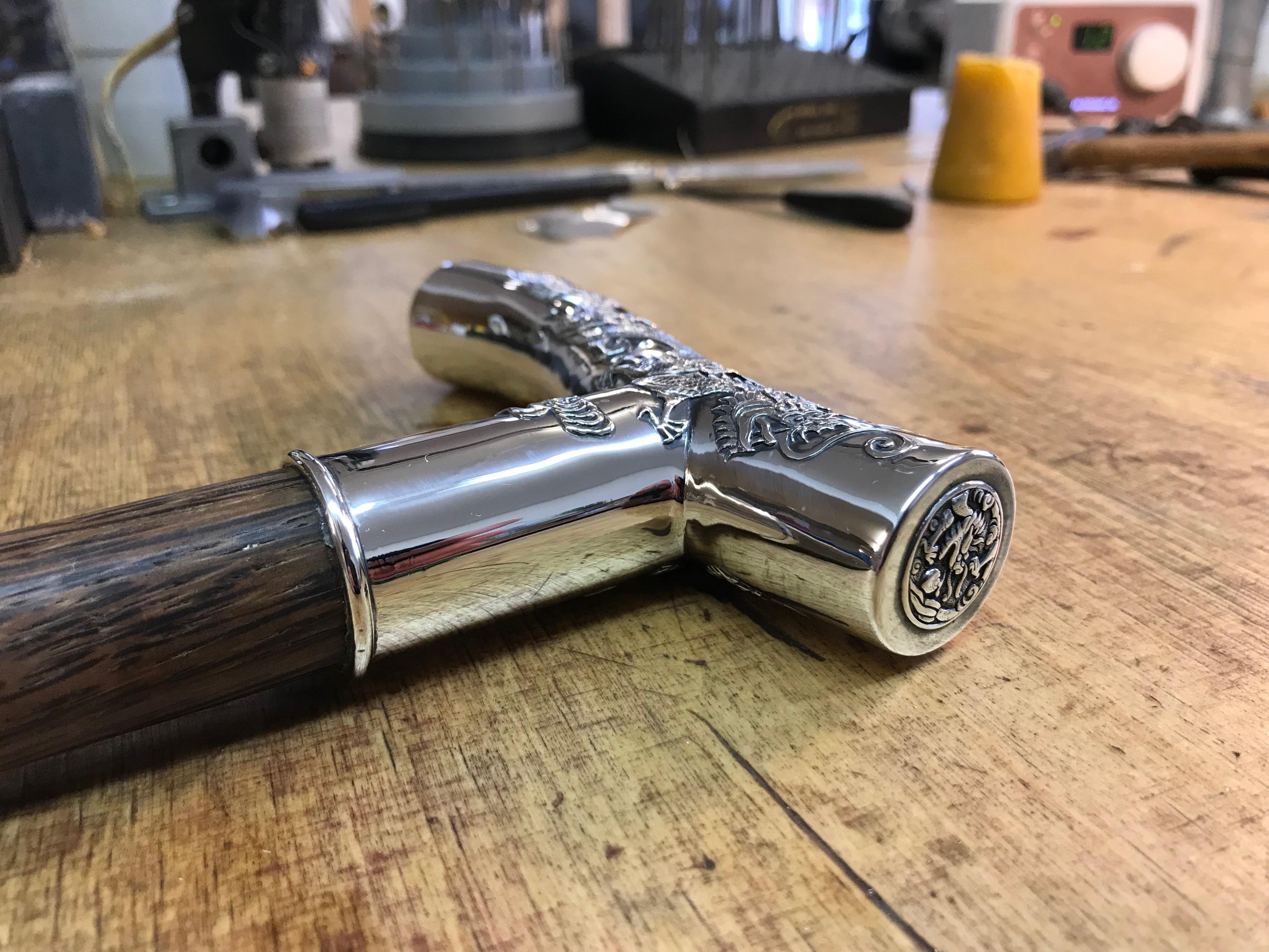 Gehstock mit Silbergriff