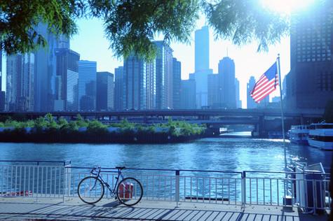 Chicago on a summer day, bike, flag