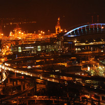 Seattle freeways at night - while the city closes down at night we continue to weave our magic designs on data becoming information