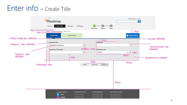 Design Enter info - Create Title iRoadmap