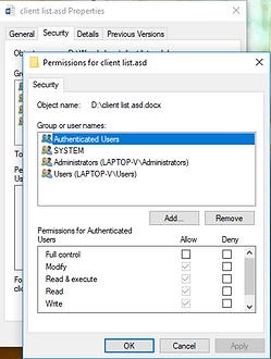 Windows security screenshot for permissions