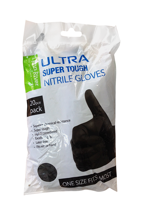 LYNN RIVER SUPER TOUGH NITRILE GLOVES 20PK