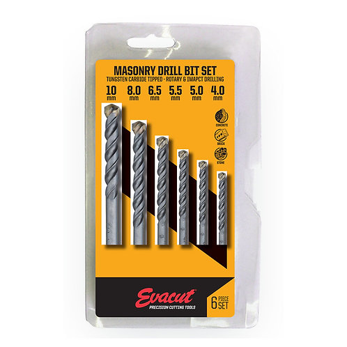 EVACUT MASONRY DRILL BIT SET 6pc