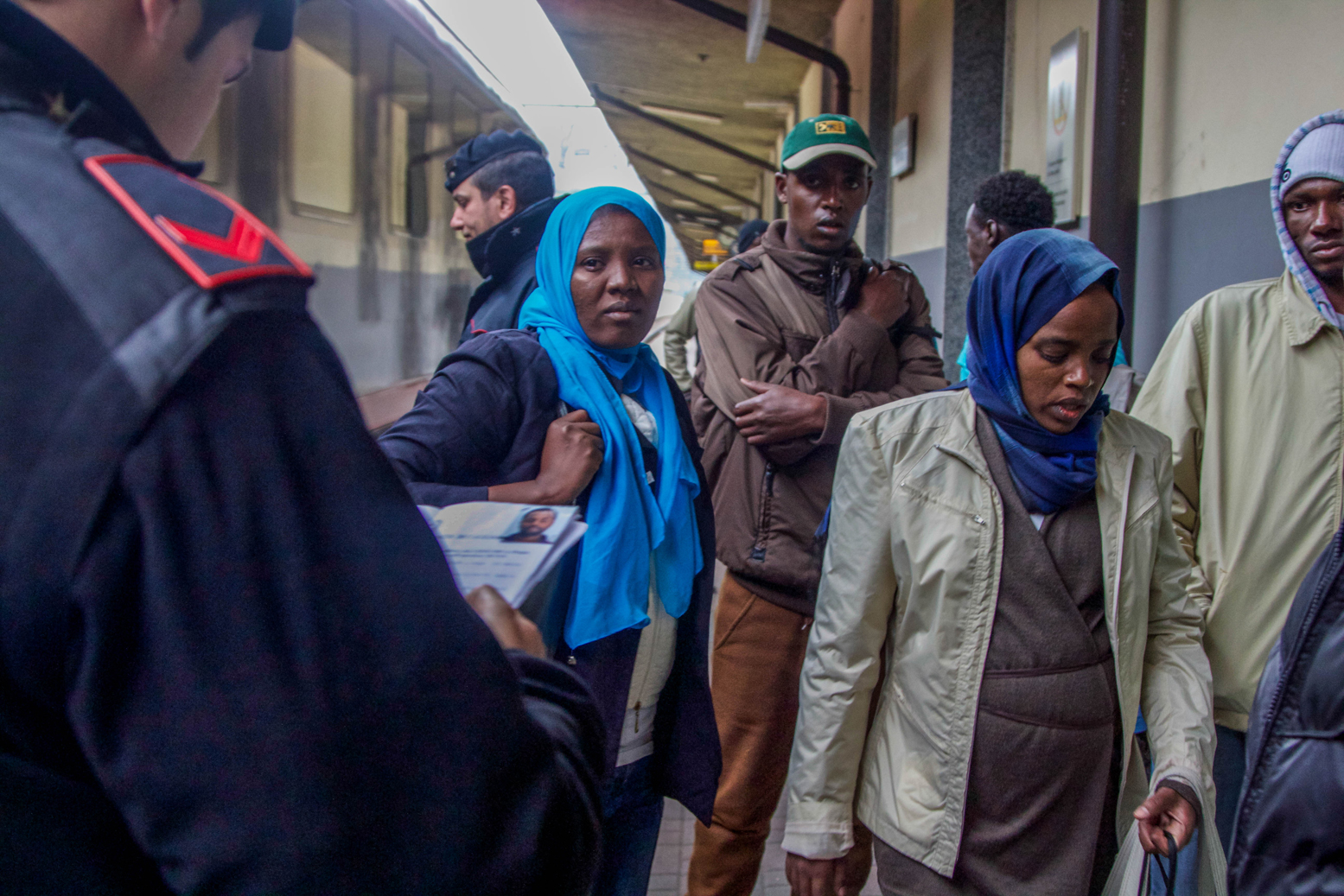 Migrants at Brenner Station, Italy