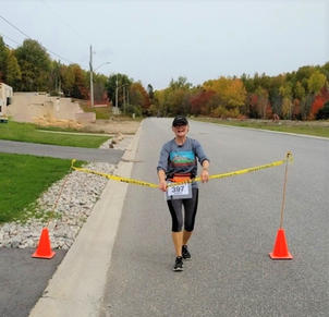 Melissa's Virtual Finish Line with cones
