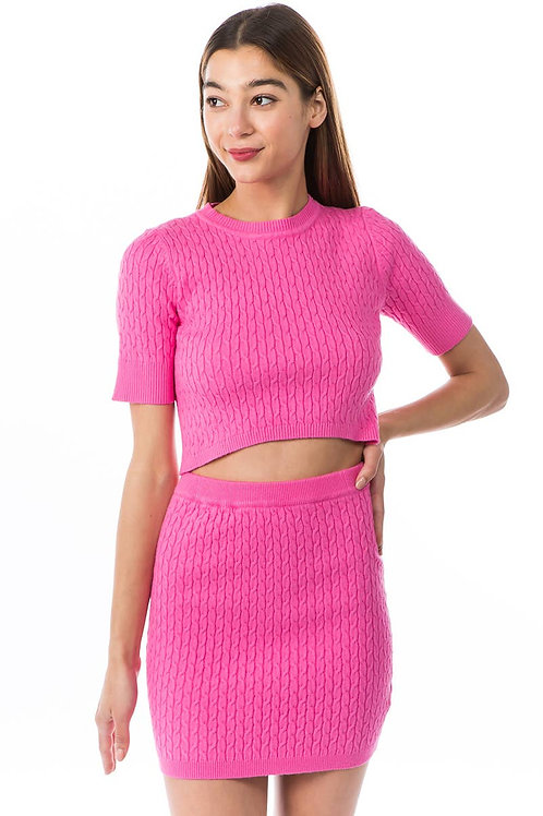 Knit Top and Skirt Set