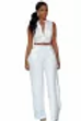 White notched neck buttoned jumpsuit