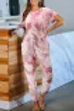 Red Rocketed Tie-dye knit jumpsuit