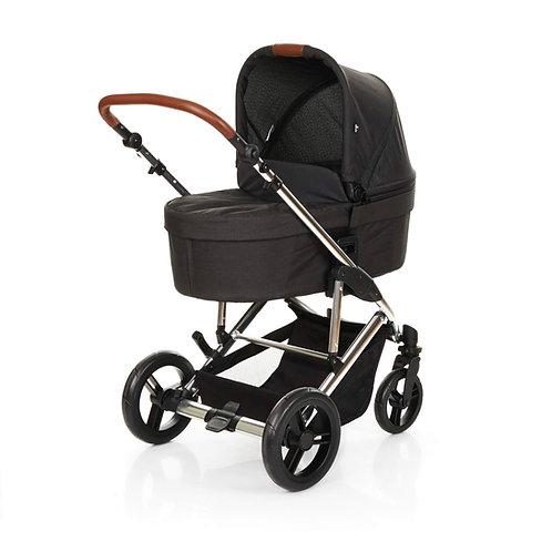 סט עגלת תינוק דו-כיווני עם סל שכיבה (אמבטיה) מרווחת במיוחד סירקל ראבנה - שחור