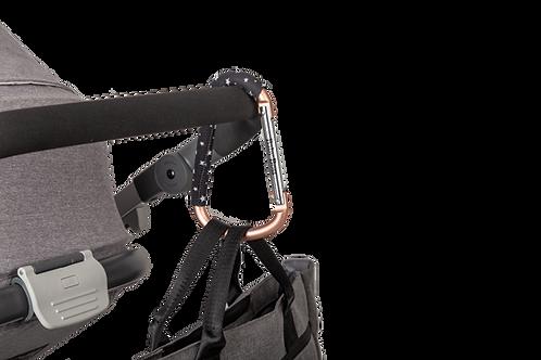 סיטי פאשן הוק - שאקל מתכת כסוף/רוז גולד מעוצב לתליית תיק או שקיות לעגלת תינוק