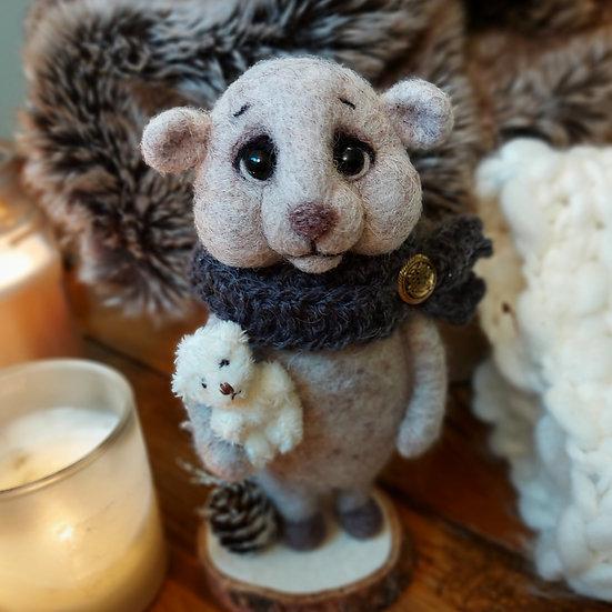Winter Beige Bear with Fuzzy Friend