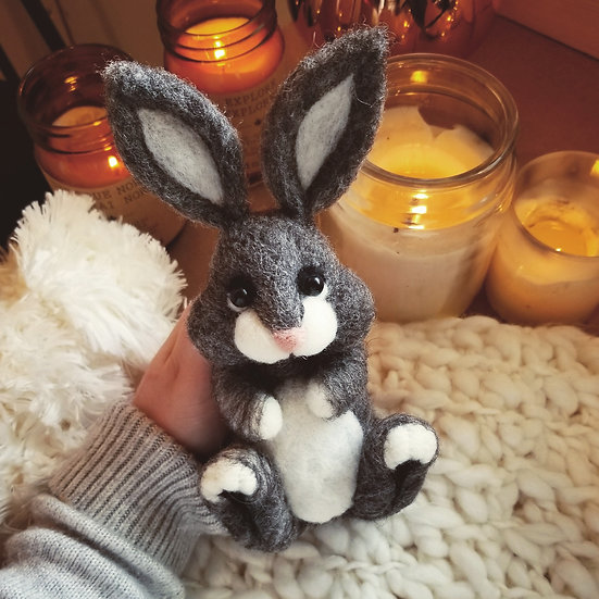 Charcoal Bunny - Reserved for Lori
