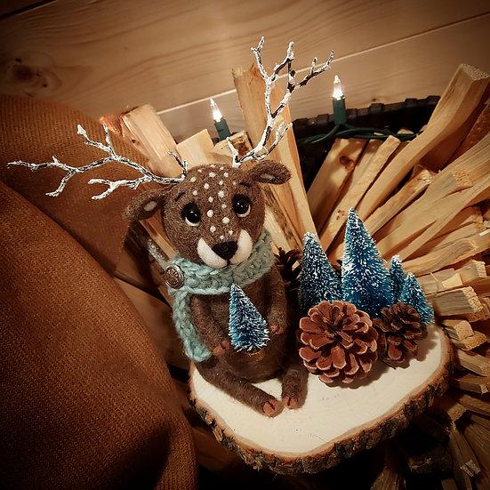 Christmas Reindeer with Blue Spruce scene