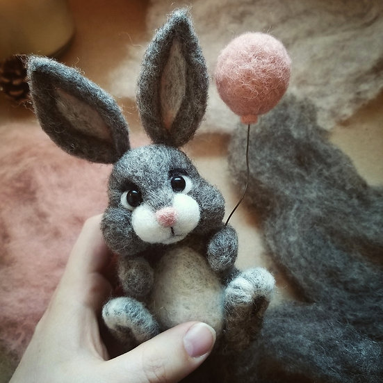 Reserved for Wendie - Custom Needle-felt Bunny with Blue Balloon