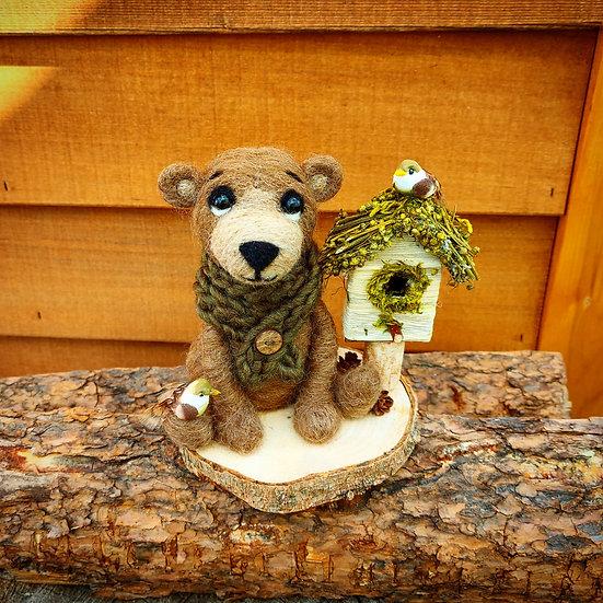 Boris the Bear, Birdhouse and Birds