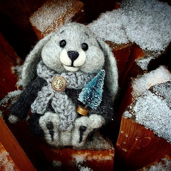 Winter Grey Bunny with Blue Spruce Tree