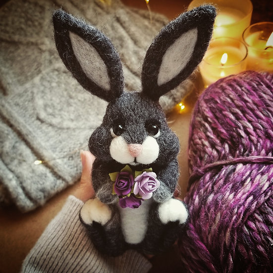 Charcoal Bunny with Flowers - Made to order