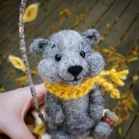 Charcoal Bare Bear in Mustard Scarf