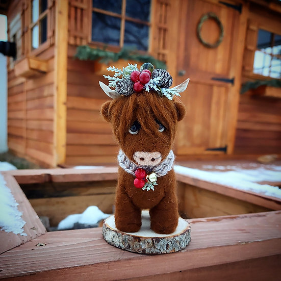 Hilda the Highland in a Christmas Crown