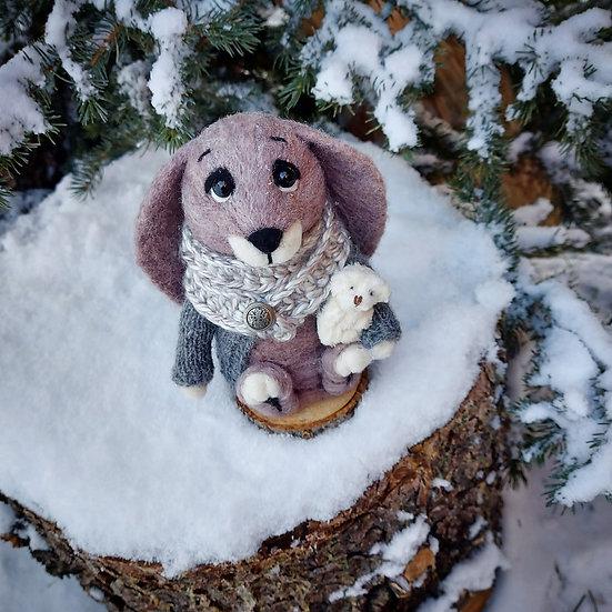 Winter Bunny with Fuzzy Bear