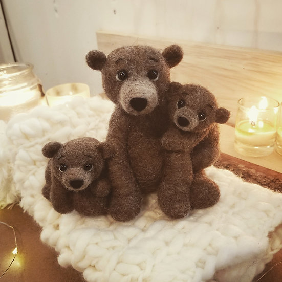 Reserved for Chris- Needle-felt Mama bear with two cubs
