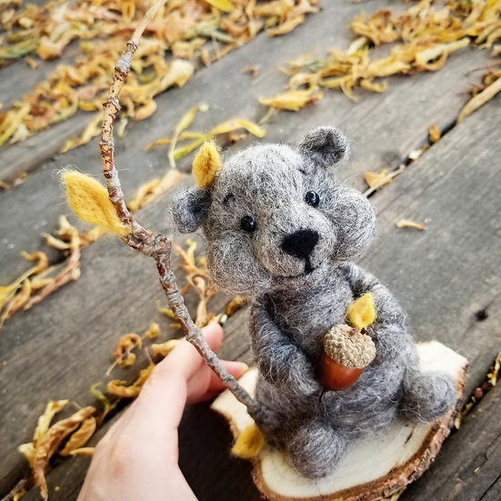 Reserved for Kristi - Charcoal Bare Bear Autumnal