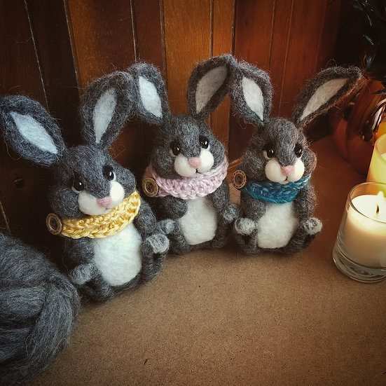 Reserved for Amy - three charcoal bunnies with scarves