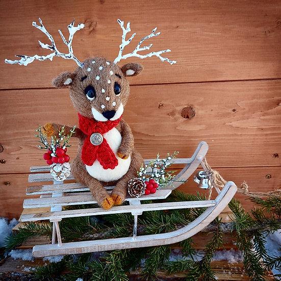 Christmas Reindeer on Sleigh