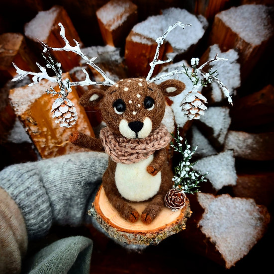 Winter Reindeer with Pinecone Antlers