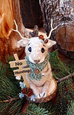 """Albino Deer with """"No Hunting"""" Sign"""