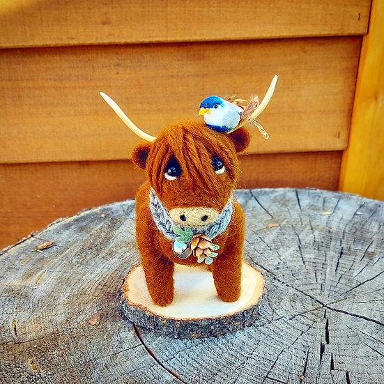 Harrison the Highland Cow with Blue Bird