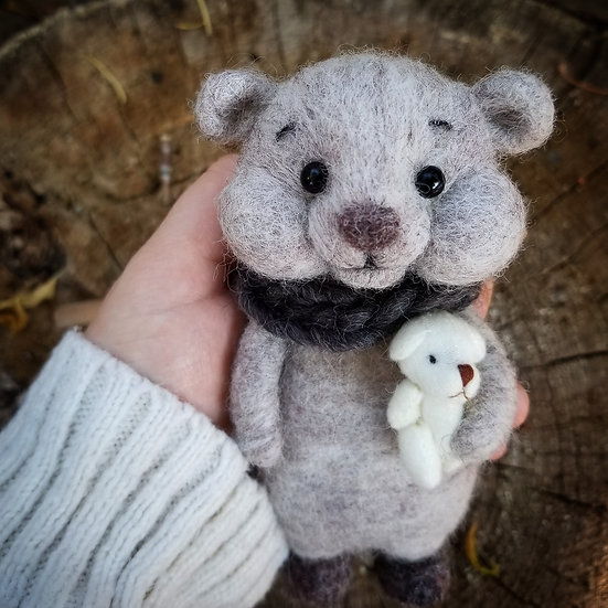 Bare Bear in Heather Beige with tiny friend