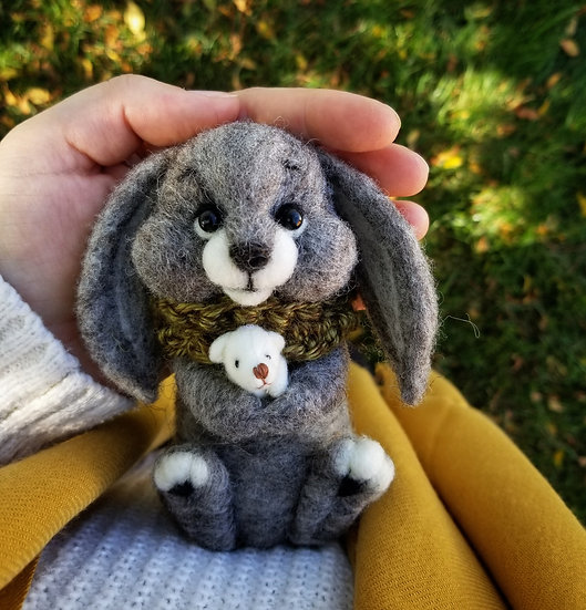 Charcoal Bunny with tiny friend