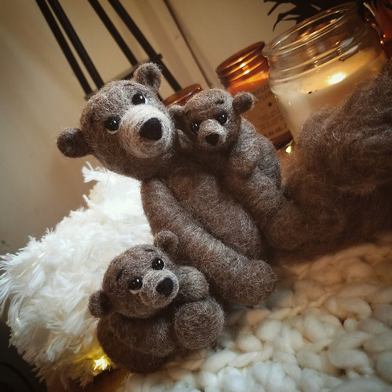 Mama Bear and Cubs Sculpture - Made to order