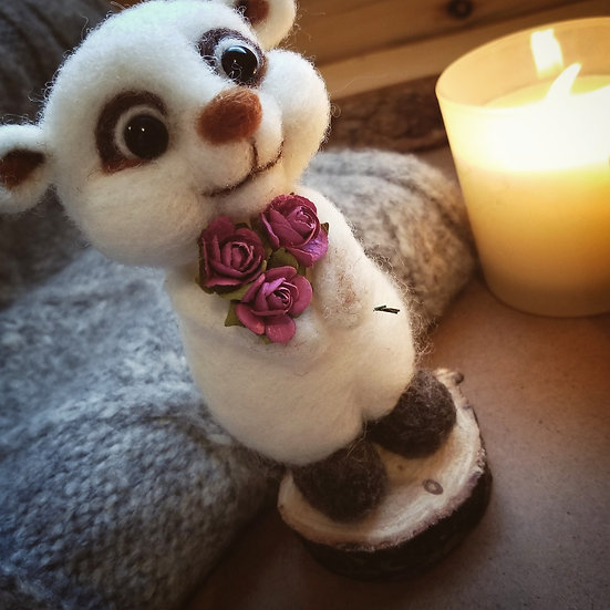 Critter holding roses - Made to order