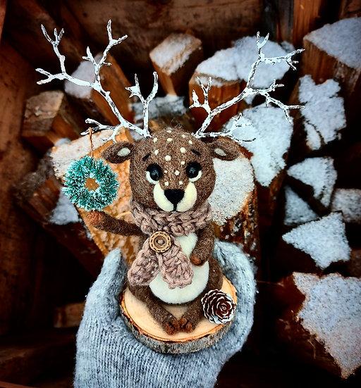 Winter Reindeer with Blue Spruce Wreath