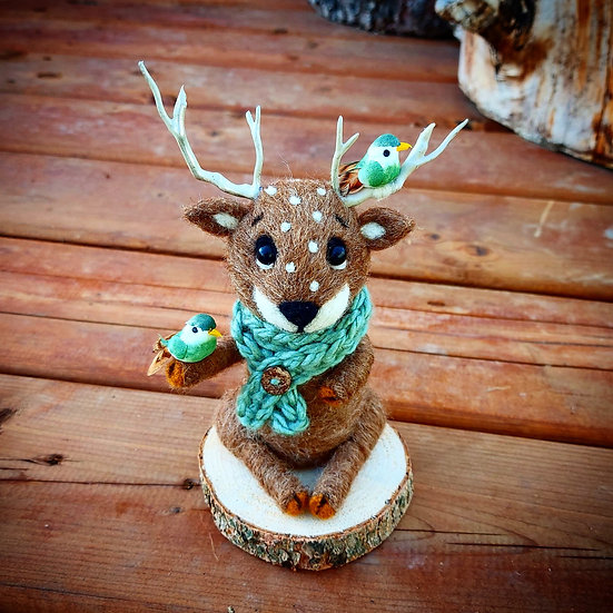 Radford the Reindeer with Green Birds