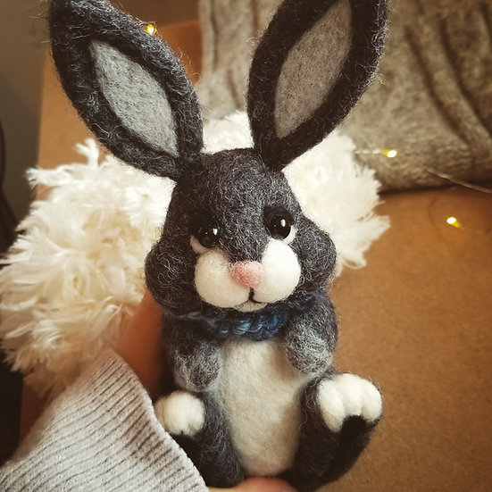 Charcoal Bunny with Scarf - Made to Order
