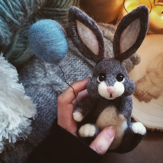 Charcoal Bunny with Balloon - Made to order