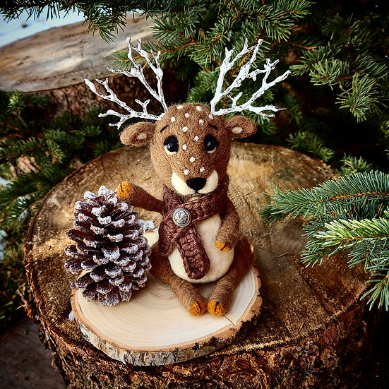 Reindeer with his Giant Pinecone